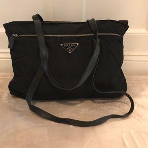 Vintage Prada black Nylon Tote bag with zippers